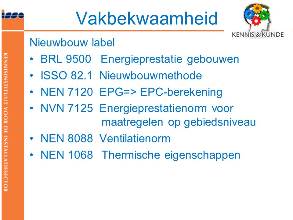Vakbekwaamheid Nieuwbouw label BRL 9500 Energieprestatie gebouwen