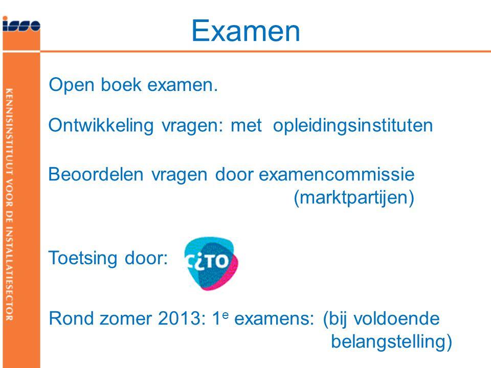 Examen Open boek examen. Ontwikkeling vragen: met opleidingsinstituten