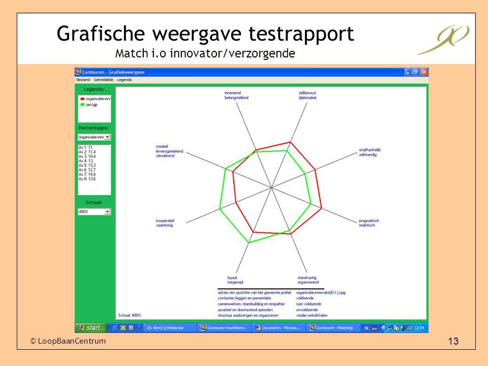 Grafische weergave testrapport Match i.o innovator/verzorgende