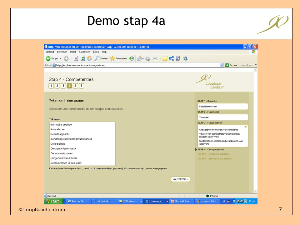 Demo stap 4a © LoopBaanCentrum