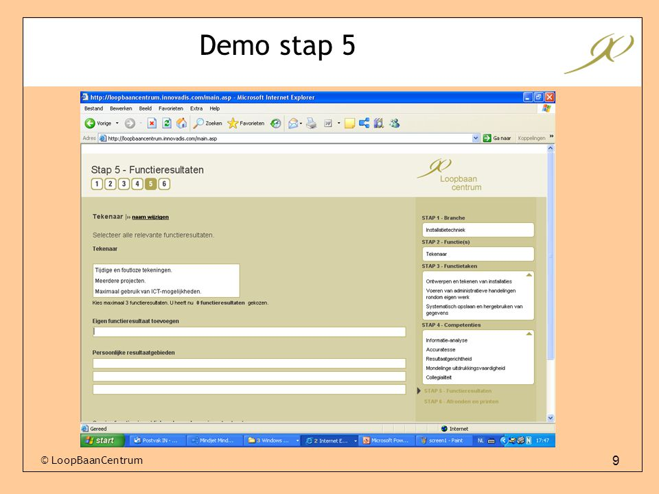 Demo stap 5 © LoopBaanCentrum