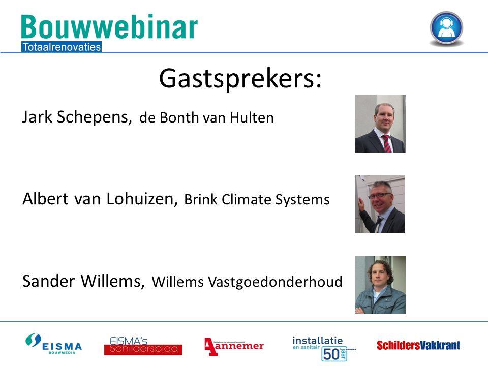 Gastsprekers: Jark Schepens, de Bonth van Hulten Albert van Lohuizen, Brink Climate Systems Sander Willems, Willems Vastgoedonderhoud