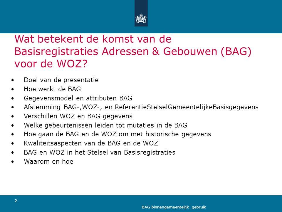 Wat betekent de komst van de Basisregistraties Adressen & Gebouwen (BAG) voor de WOZ