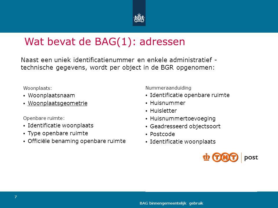 Wat bevat de BAG(1): adressen