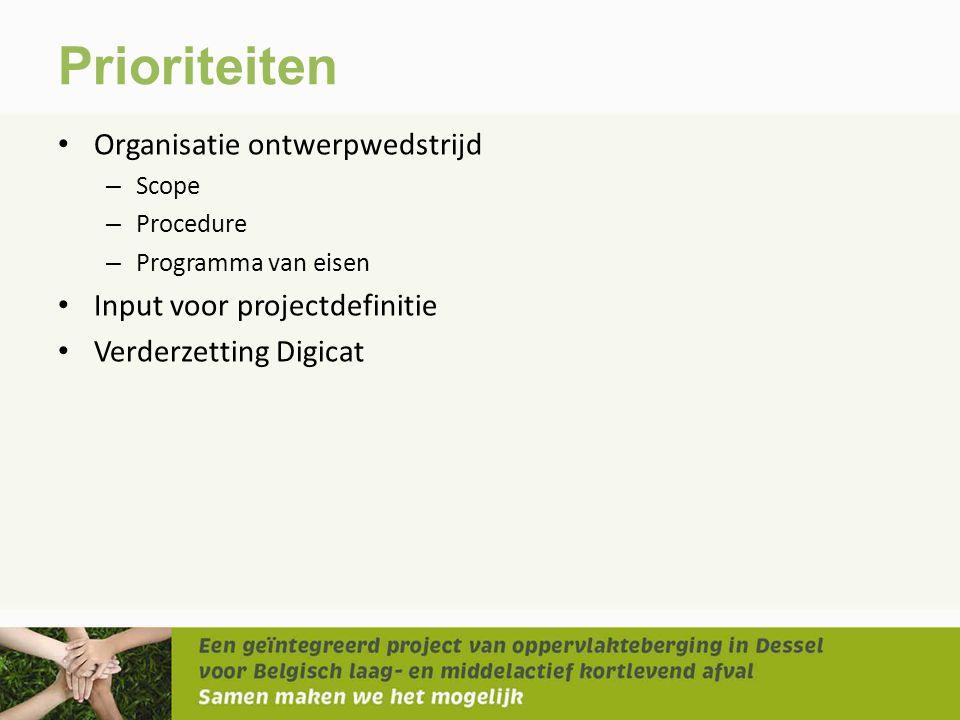 Prioriteiten Organisatie ontwerpwedstrijd Input voor projectdefinitie