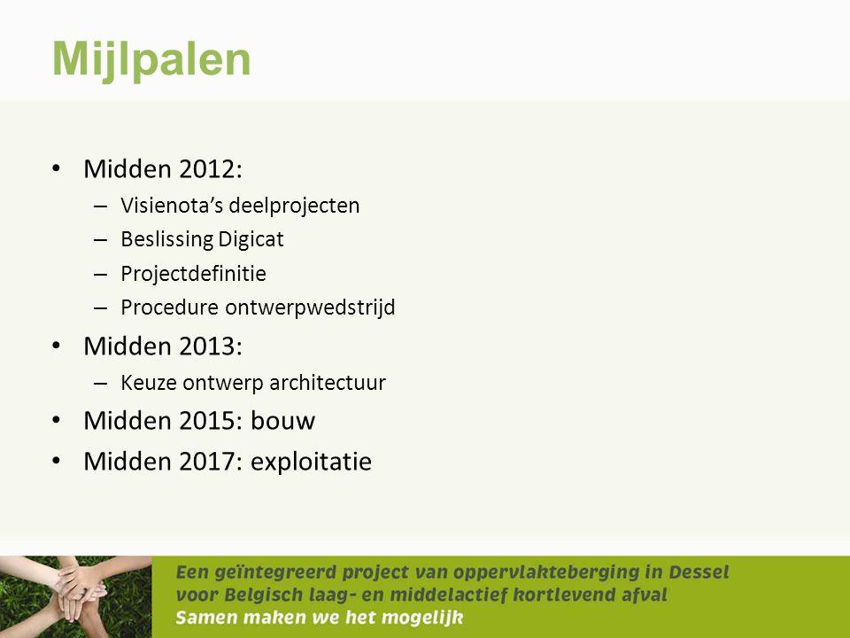 Mijlpalen Midden 2012: Midden 2013: Midden 2015: bouw