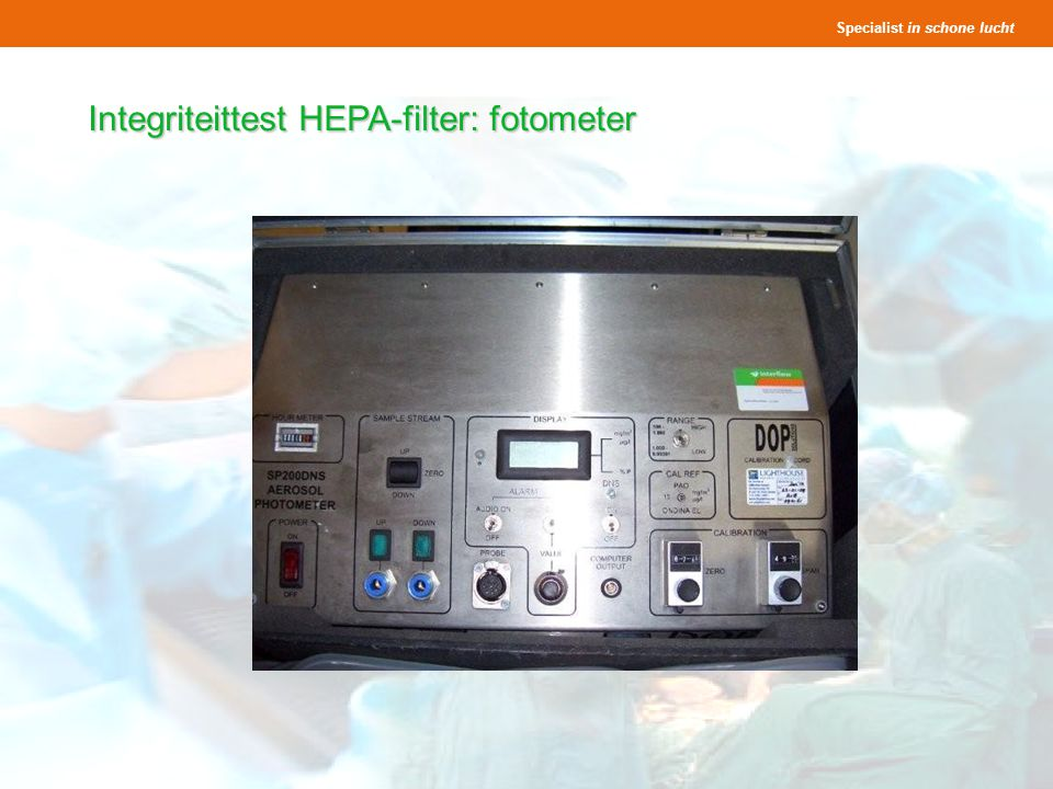 Integriteittest HEPA-filter: fotometer