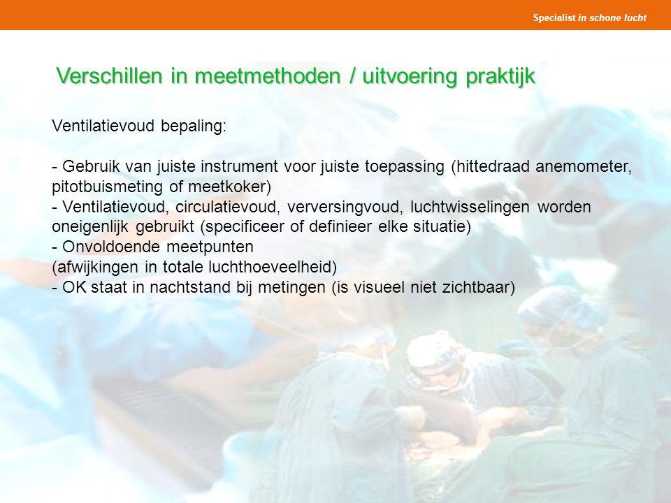 Verschillen in meetmethoden / uitvoering praktijk