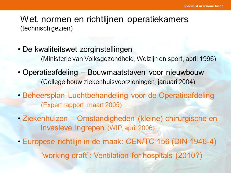 Wet, normen en richtlijnen operatiekamers (technisch gezien)