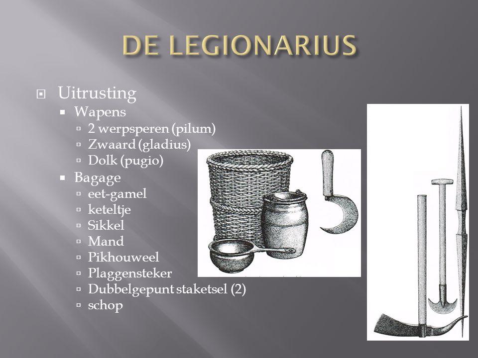 DE LEGIONARIUS Uitrusting Wapens Bagage 2 werpsperen (pilum)