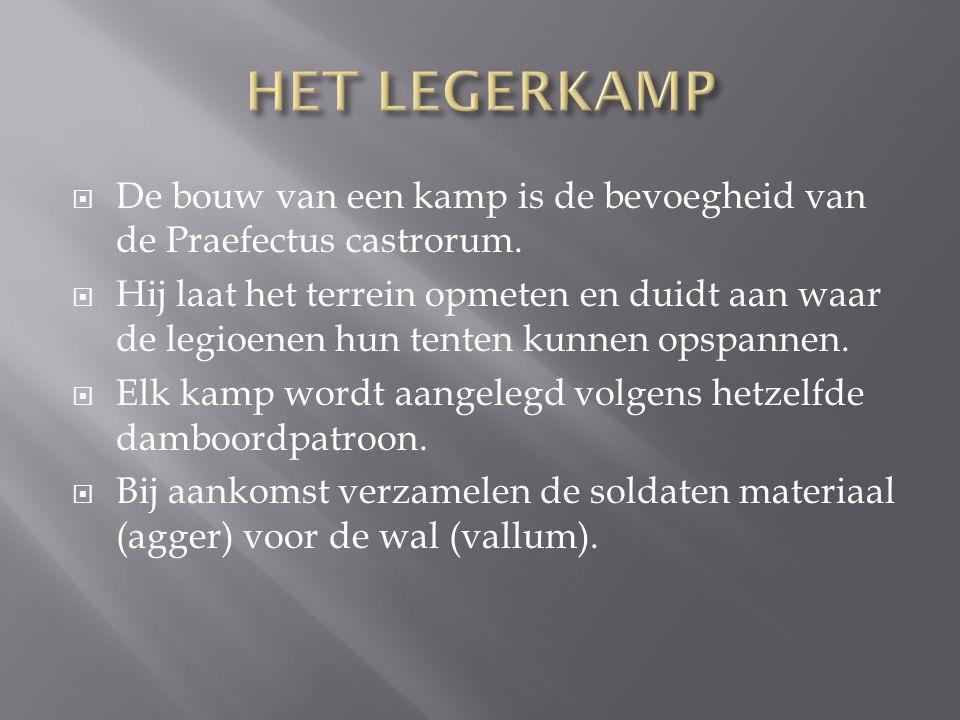 HET LEGERKAMP De bouw van een kamp is de bevoegheid van de Praefectus castrorum.