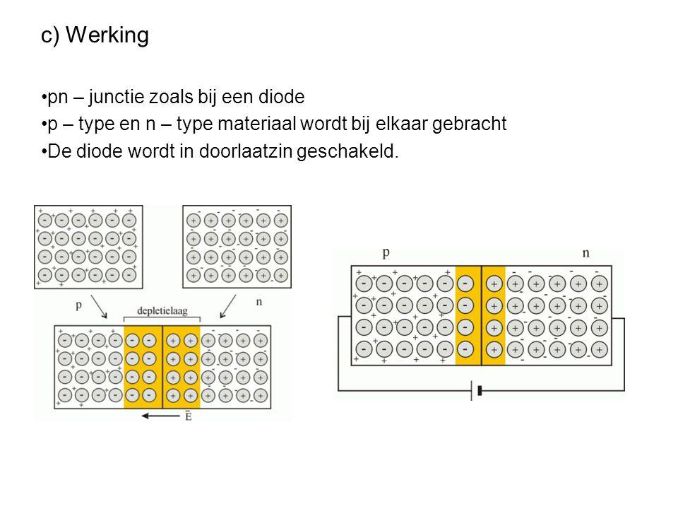 c) Werking pn – junctie zoals bij een diode