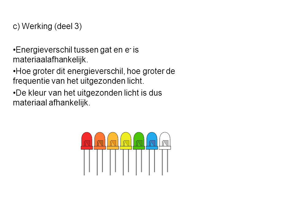 c) Werking (deel 3) Energieverschil tussen gat en e- is materiaalafhankelijk.