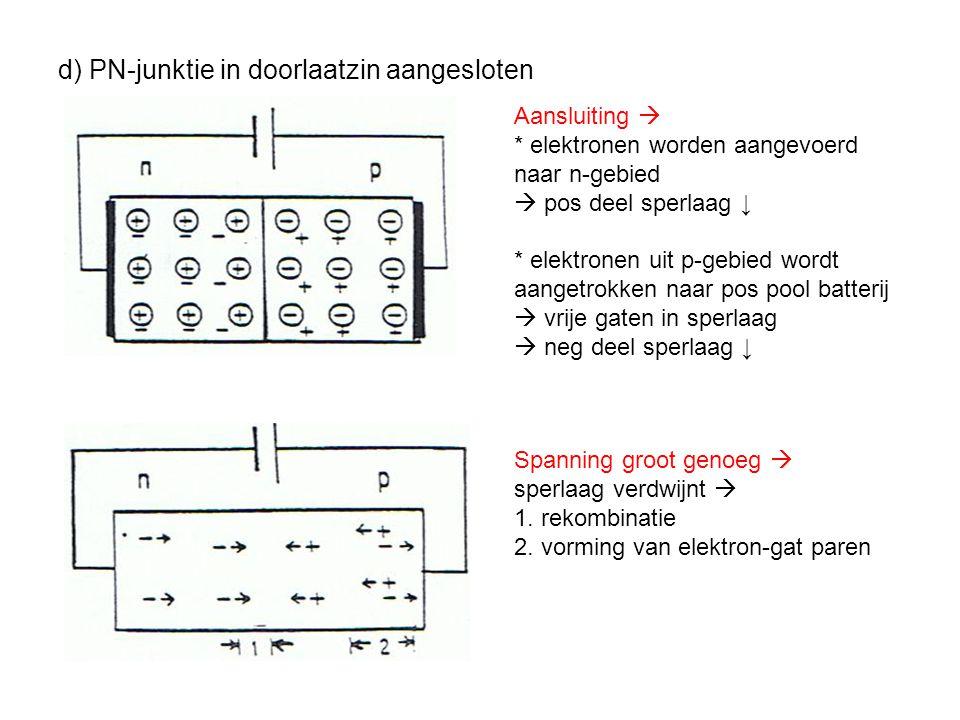 d) PN-junktie in doorlaatzin aangesloten