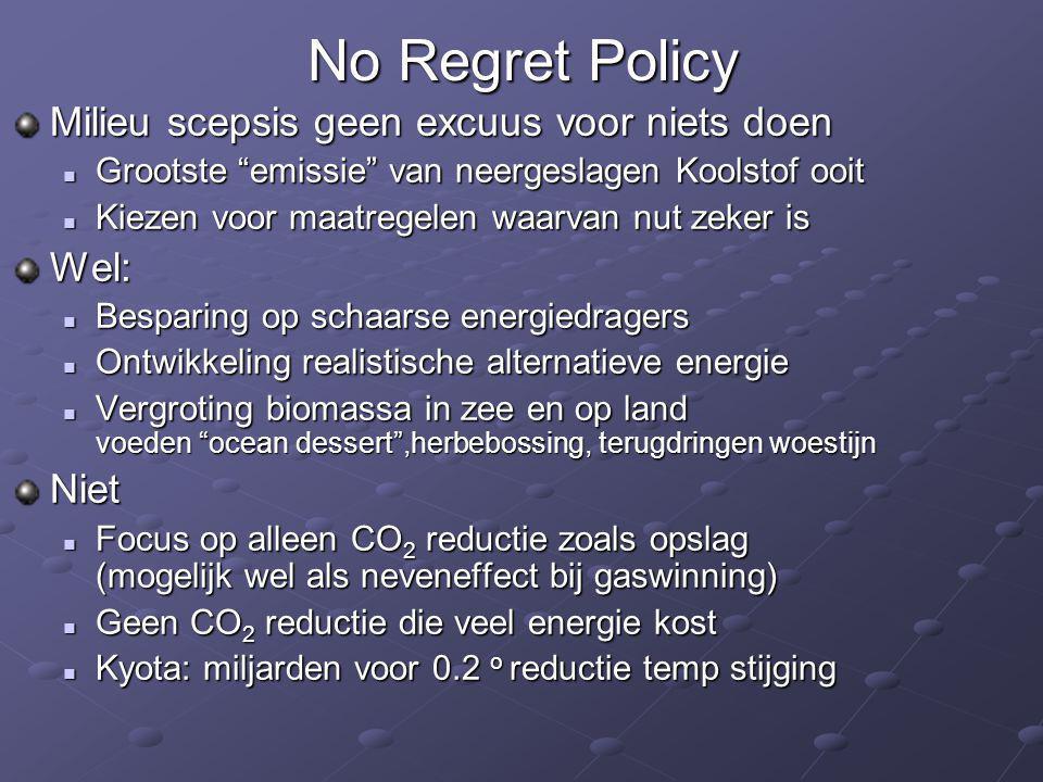 No Regret Policy Milieu scepsis geen excuus voor niets doen Wel: Niet