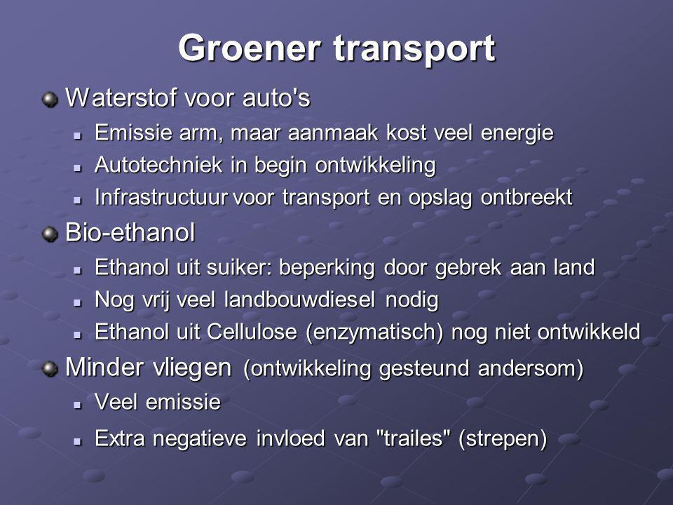 Groener transport Waterstof voor auto s Bio-ethanol