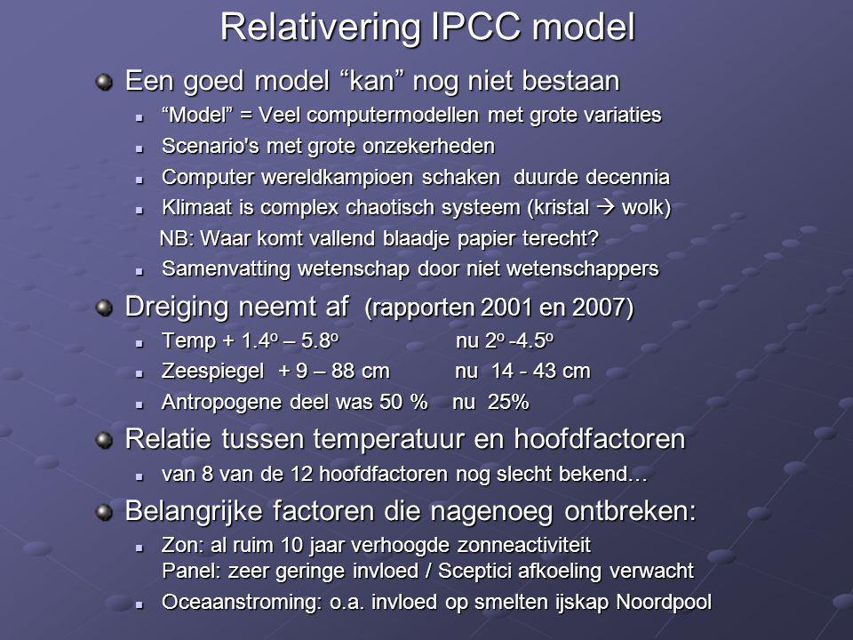 Relativering IPCC model