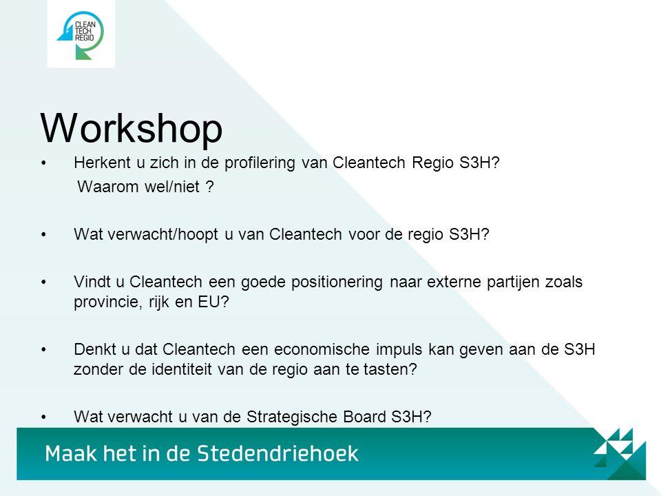 Workshop Herkent u zich in de profilering van Cleantech Regio S3H
