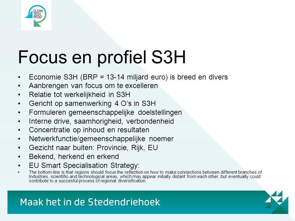 Focus en profiel S3H Economie S3H (BRP = 13-14 miljard euro) is breed en divers. Aanbrengen van focus om te excelleren.