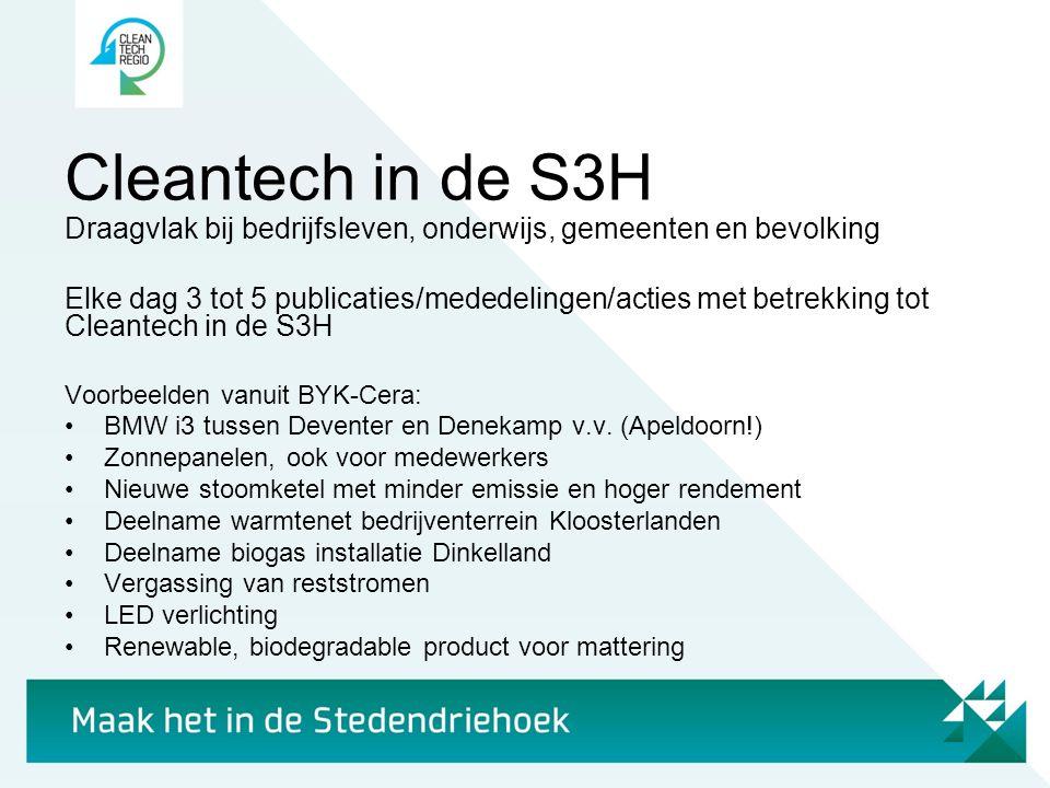Cleantech in de S3H Draagvlak bij bedrijfsleven, onderwijs, gemeenten en bevolking.