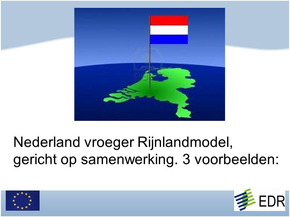 Nederland vroeger Rijnlandmodel, gericht op samenwerking