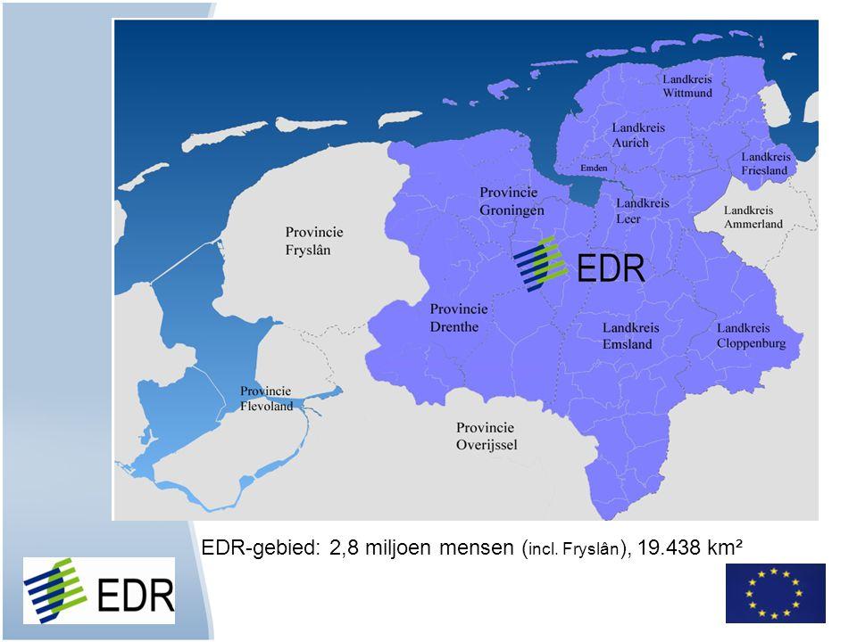 EDR-gebied: 2,8 miljoen mensen (incl. Fryslân), 19.438 km²
