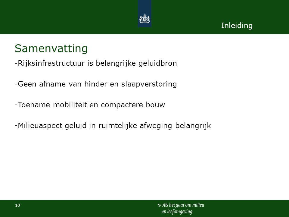 Samenvatting Inleiding Rijksinfrastructuur is belangrijke geluidbron