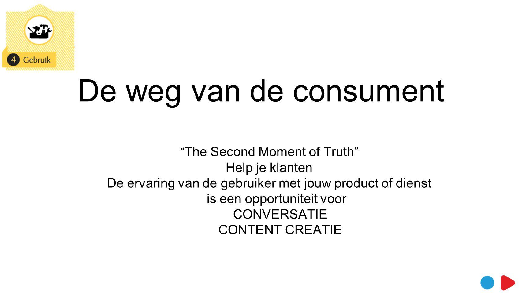 De weg van de consument Gebruik > opportuniteit voor conversatie > luisteren, (peer to peer) Ik ben een aanrader