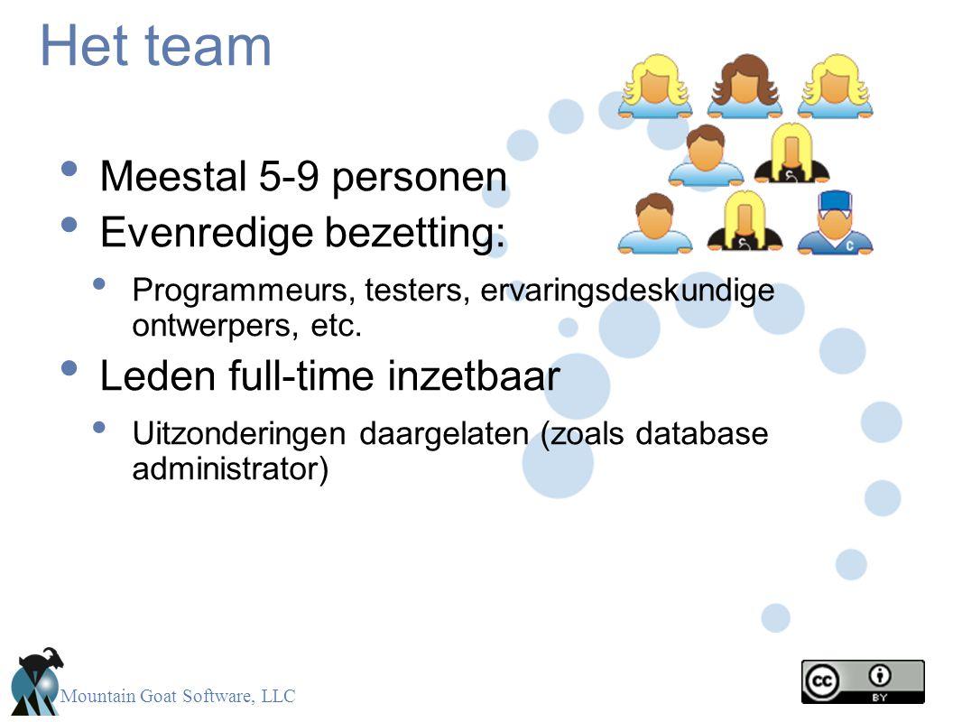 Het team Meestal 5-9 personen Evenredige bezetting: