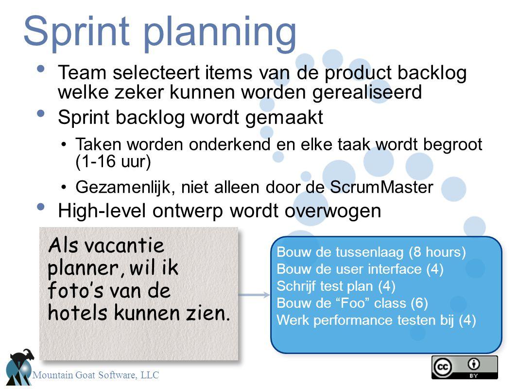 Sprint planning Team selecteert items van de product backlog welke zeker kunnen worden gerealiseerd.
