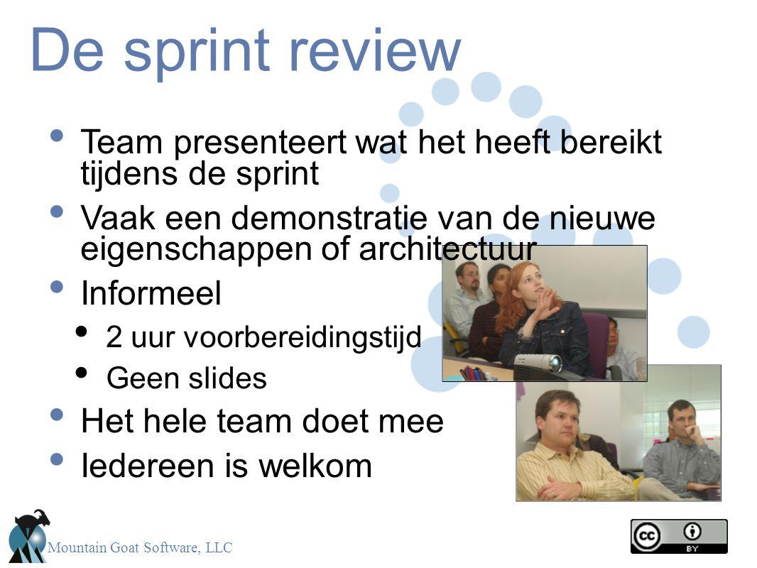 De sprint review Team presenteert wat het heeft bereikt tijdens de sprint. Vaak een demonstratie van de nieuwe eigenschappen of architectuur.