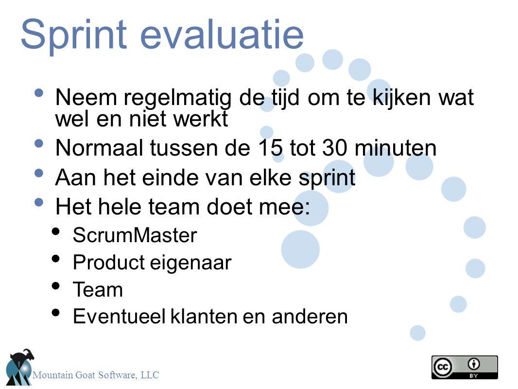 Sprint evaluatie Neem regelmatig de tijd om te kijken wat wel en niet werkt. Normaal tussen de 15 tot 30 minuten.