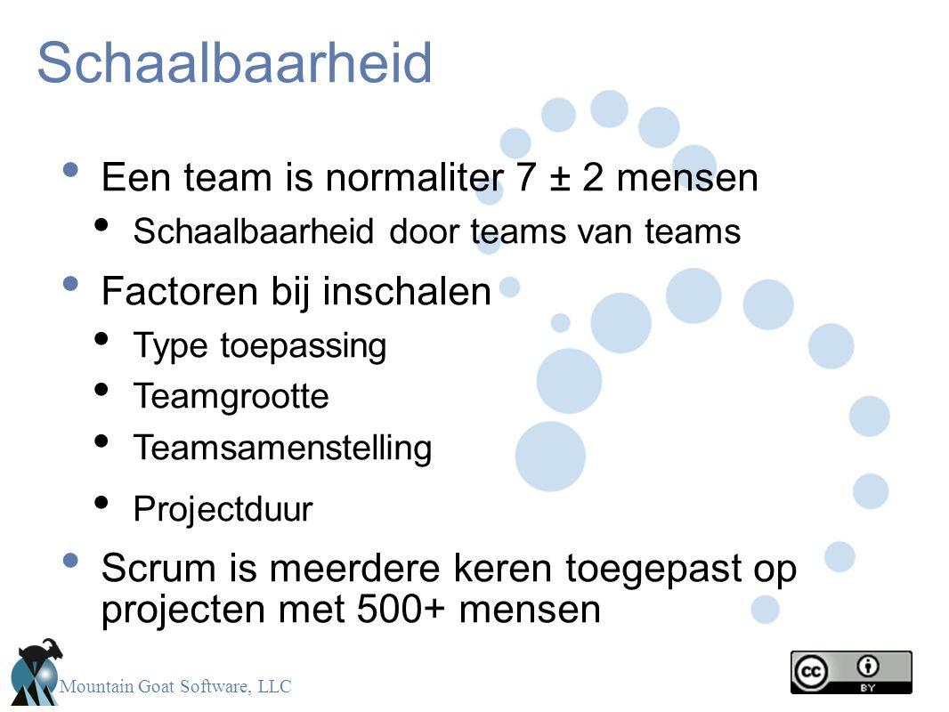Schaalbaarheid Een team is normaliter 7 ± 2 mensen