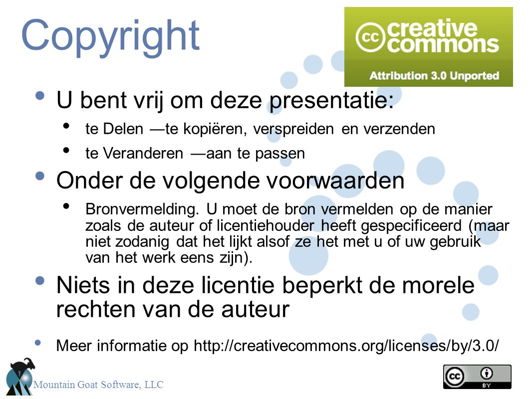 Copyright U bent vrij om deze presentatie: