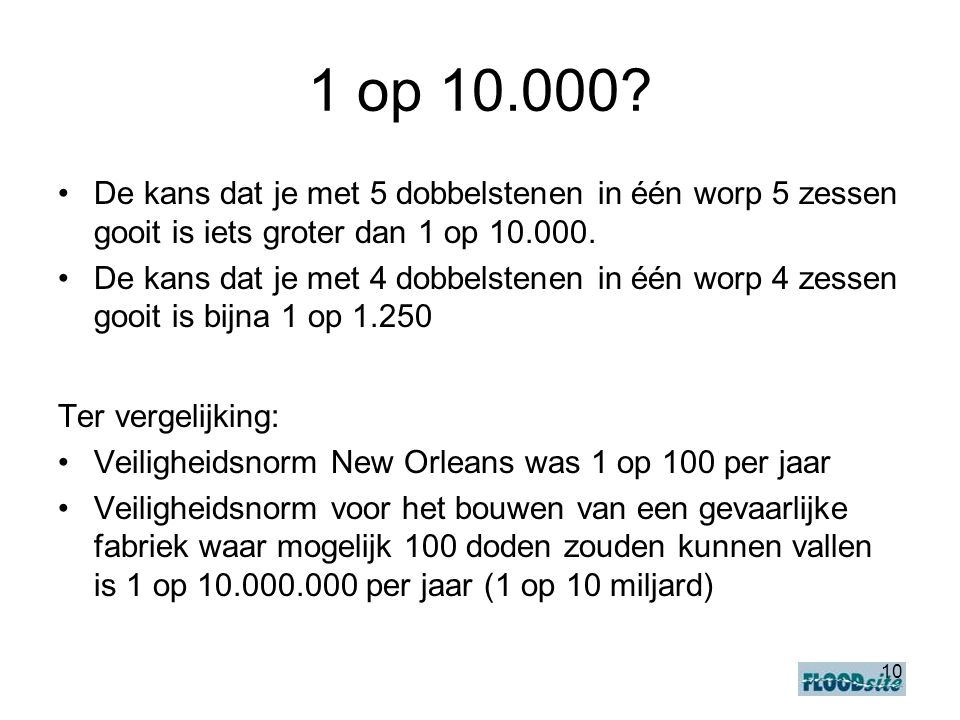 1 op 10.000 De kans dat je met 5 dobbelstenen in één worp 5 zessen gooit is iets groter dan 1 op 10.000.