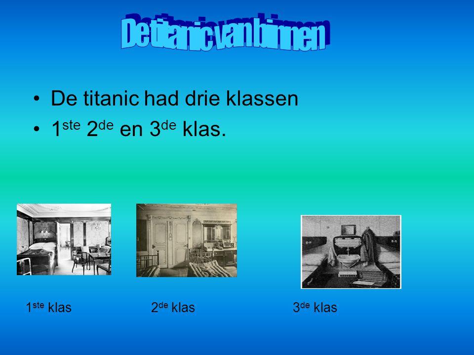 De titanic van binnen De titanic had drie klassen