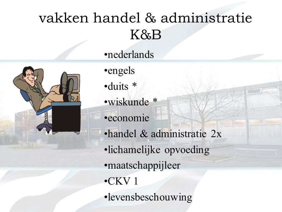 vakken handel & administratie K&B