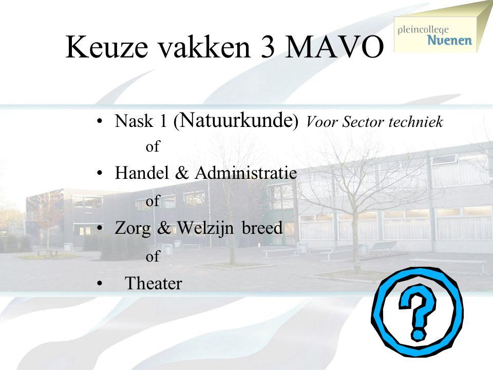 Keuze vakken 3 MAVO Nask 1 (Natuurkunde) Voor Sector techniek