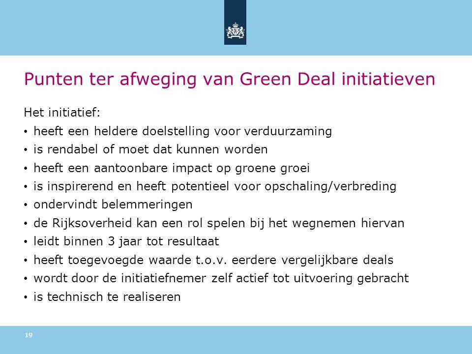 Punten ter afweging van Green Deal initiatieven