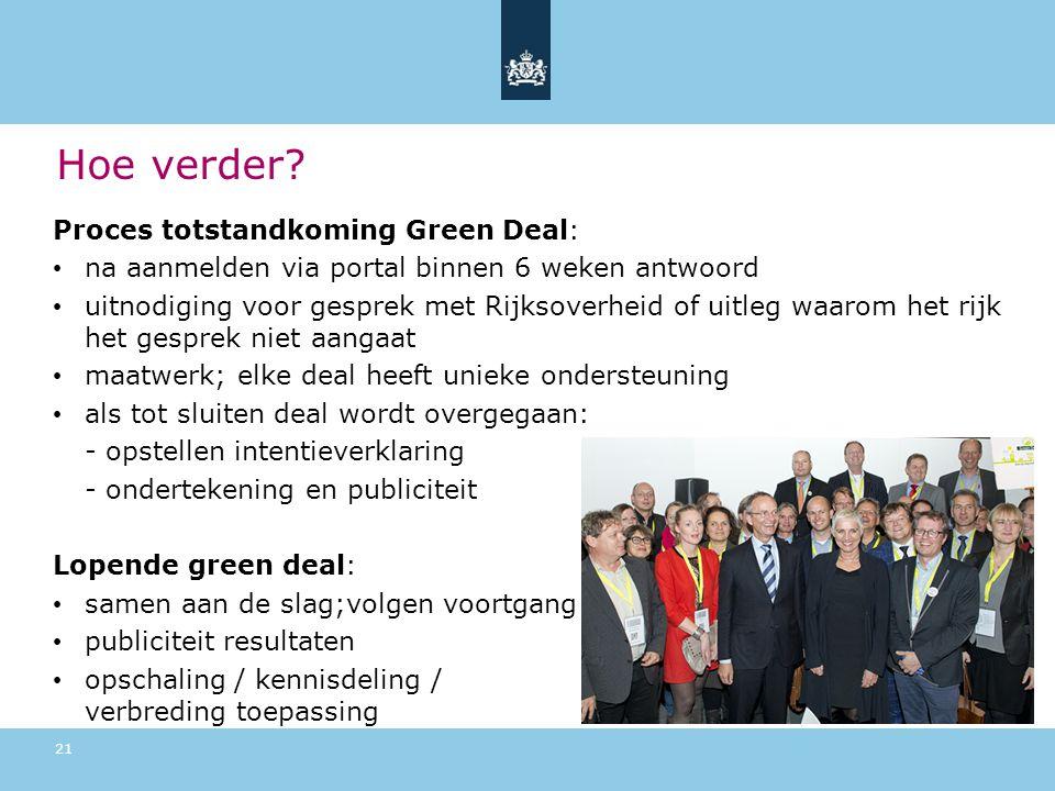 Hoe verder Proces totstandkoming Green Deal: