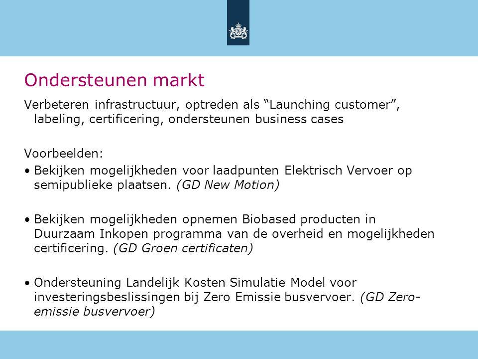 Ondersteunen markt Verbeteren infrastructuur, optreden als Launching customer , labeling, certificering, ondersteunen business cases.