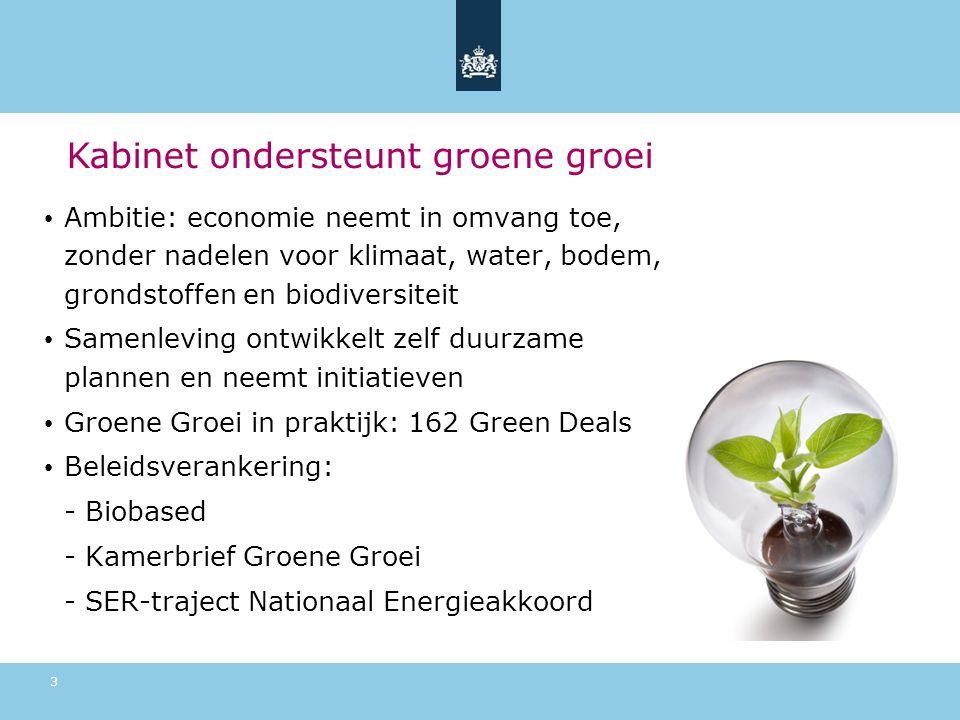 Kabinet ondersteunt groene groei