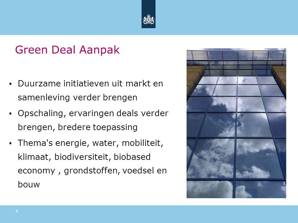 Green Deal Aanpak Duurzame initiatieven uit markt en samenleving verder brengen. Opschaling, ervaringen deals verder brengen, bredere toepassing.