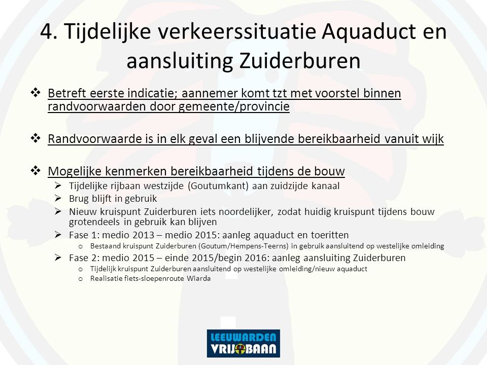 4. Tijdelijke verkeerssituatie Aquaduct en aansluiting Zuiderburen