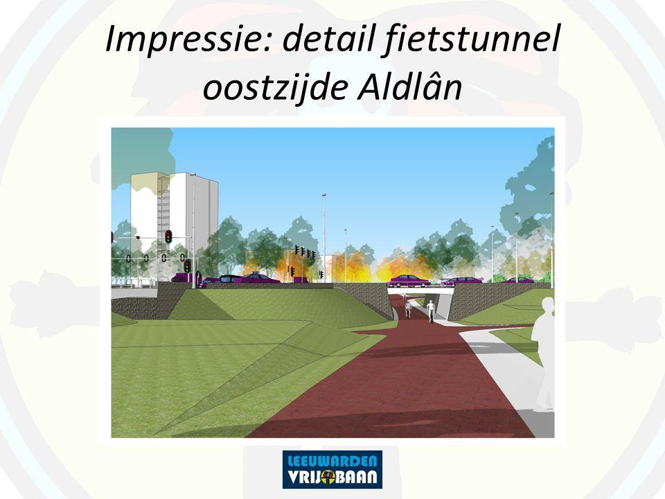 Impressie: detail fietstunnel oostzijde Aldlân