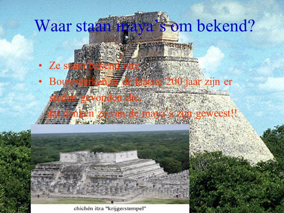 Waar staan maya's om bekend