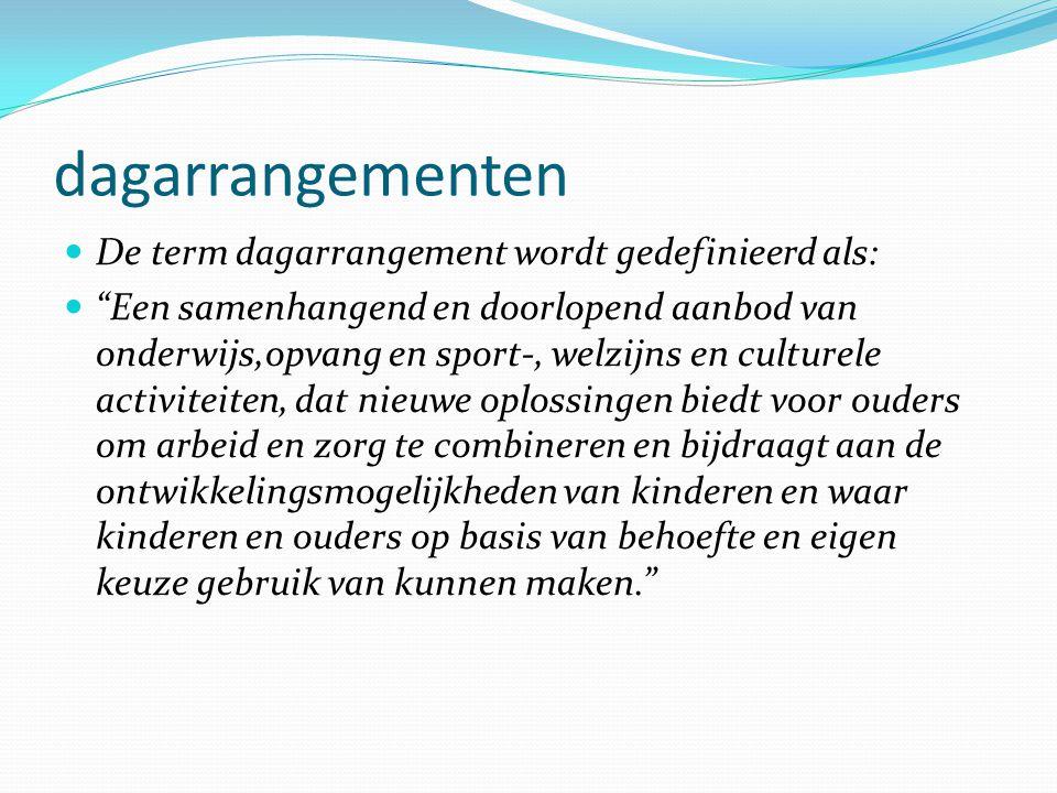 dagarrangementen De term dagarrangement wordt gedefinieerd als: