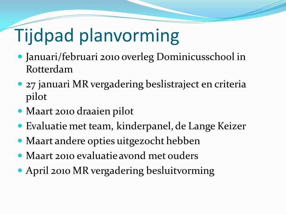 Tijdpad planvorming Januari/februari 2010 overleg Dominicusschool in Rotterdam. 27 januari MR vergadering beslistraject en criteria pilot.