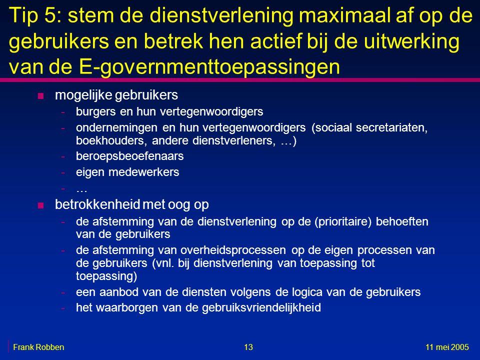Tip 5: stem de dienstverlening maximaal af op de gebruikers en betrek hen actief bij de uitwerking van de E-governmenttoepassingen