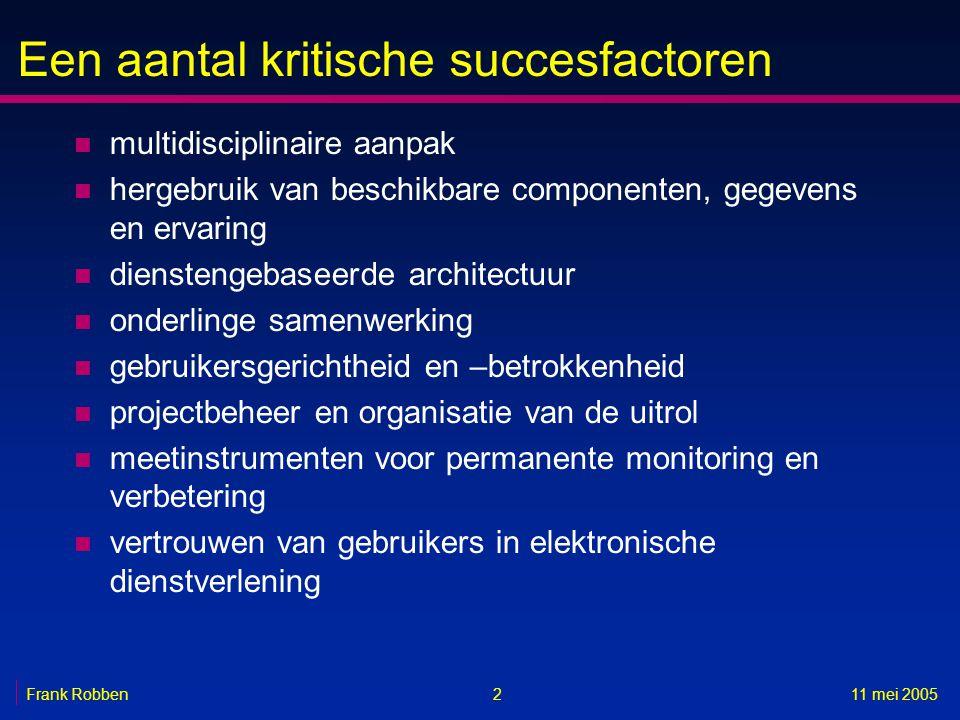 Een aantal kritische succesfactoren